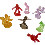 Vintage Ice Skating People Figurines Cake Toppers Plastic Set of 7 Ice Skaters