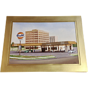Carl Ross, Gulf Oil Gasoline Station Watercolor Painting Works on Paper Architectural Design Artist Signed By Texas Artist