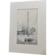 Bady, Nautical Landscape Sailboat At Mooring Mono Tone Original Watercolor Painting Signed by Artist