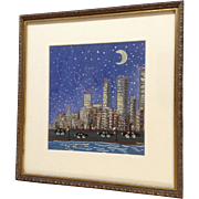 Naive Nocturnal Cityscape Watercolor Painting Signed by Artist Dory