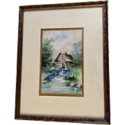 H.M. Kunz 1914 Water Wheel Mill Watercolor Painting Signed By Artist