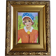 Lou Kintz, French Beautiful Lady in the Park, Small Oil Painting on Canvas Board Signed By Artist 1971