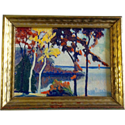 Hudson River Scene, Upstate New York, 1920's Original Oil Painting On Canvas Board, Unsigned