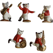 1930's-1940's Porcelain Bisque Cat Orchestra Musicians Miniature Germany Figurines Set of 5