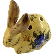 Rare Vintage Yellow French Bunny Rabbit Old Flower Frog From France Hand Painted Figurine