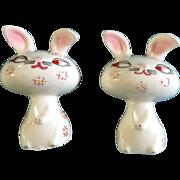 Holt Howard Salt & Pepper Shakers Bunny Rabbit Easter Figural Dated 1958 With Pink Flowers Vintage