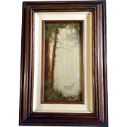 Mark Geller, Deer in a Forest Mist, Original Oil Painting on Board Signed by Listed Artist