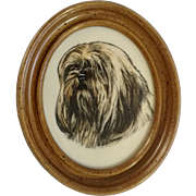 Marvetti Lhasa Apso Dog Portrait Wall Plaque Cultured Imitation Marble Engraving Earl Sherman