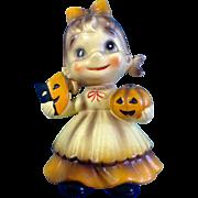 Extremely Rare Josef Originals Halloween Pumpkin Jack-o'-lantern Wee Folks Elf Girl Figurine Discontinued 1970's