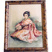 Madue Adamson 1906, Japanese Geisha Girl Playing Shamisen Guitar, Original Antique Watercolor Painting Works on Paper Signed by Artist