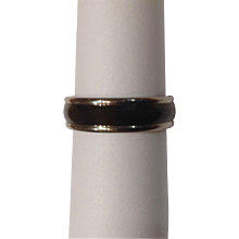 Men's Inox Titanium Ring With Black and Silver-tone Band Size 12