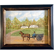 Primitive Folk Art Painting Acrylic on Canvas Board Signed by Artist Kay, Woman in a Horse Drawn Wagon
