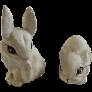 Blue Eyed White Bunny Rabbits Porcelain Animal Figurines Signed by Artist Pauline 1988