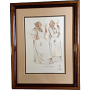 "Joan Brown Native American Cherokee Indian Oklahoma, Original Watercolor Gouache Pencil Mixed Media Works on Paper, Signed by Artist, Two Women Talking in the Kitchen, Titled, ""Hot Air In The Kitchen."""
