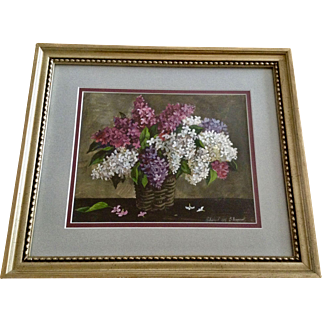 Hobropogob C. Netepeypt, Basket of Wildflowers Still Life Watercolor Painting Works on Paper Signed by Russian Artist