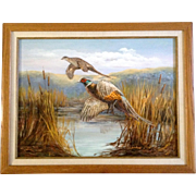 Aiko Cios, Male and Female Ringneck Pheasants in Flight, Original Acrylic Painting on Canvas Signed by California Artist
