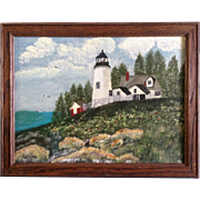Trophy Allen, Folk Art Light House on a Hill, Acrylic on Canvas Board Signed by Artist