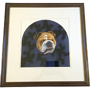 J. Hitch, Portrait of an English Bulldog Dog, Watercolor Airbrush Painting Works on Paper, Signed by Artist Original Large