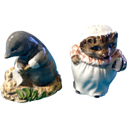 Beatrix Potter Figurines Diggory Diggory Delvet 1982 & Mrs. Tiggy Winkle 1945 Beswick England Vintage