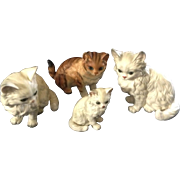Original Vintage Lefton Kitty Persian Cats and One Brown Lot of 4 Figurines