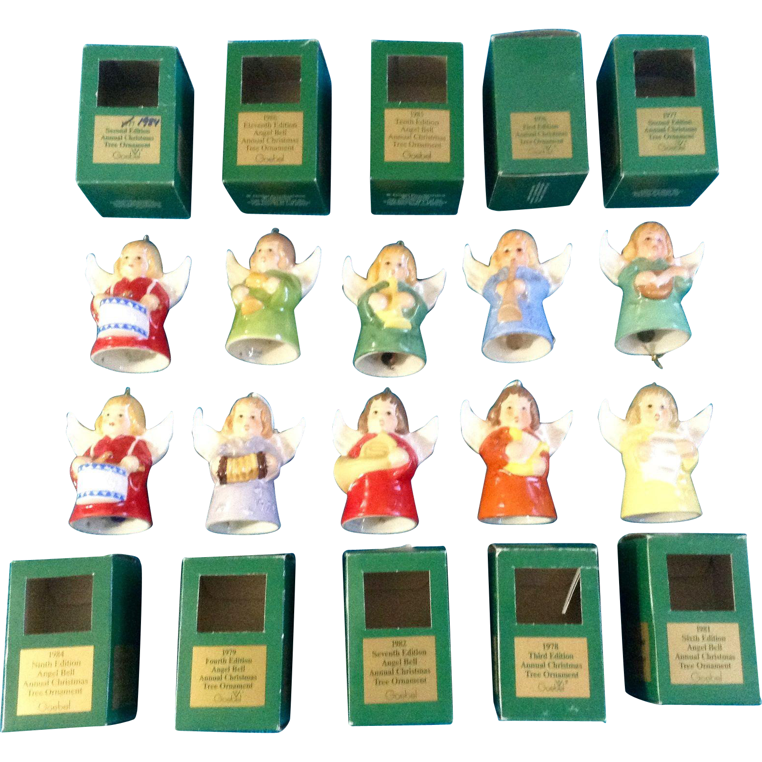 Goebel christmas ornaments - Goebel Angel Bell Christmas Tree Ornaments Set Of 10 West Germany Annual 1976 1977 1978 1979 1981 1982 1984 1985 1986