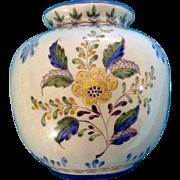 Carvalhinho Pottery Vase Floral Porto Portugal  P-123 Vintage