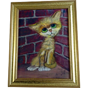 Lil Wyatt, Gig Pity Kitty Cat in Brick Corner Keane Style Big Eye Art, Vintage Oil Painting on Canvas Signed by Artist