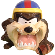 Taz Cookie Jar Warner Bros. Looney Tunes Football Tasmanian Devil with Original Box 1993 Collectors Item