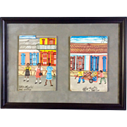 Eddy Myrthil (b1946), Folk Art Haitian Street Scenes, Acylic Paintings on Board, Signed by Listed Haitian Artist