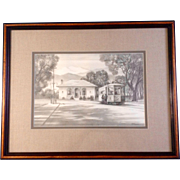 Rick Brogan, Old Street Trolly Stop in Littleton Colorado, Hand Made Pencil Drawing, Works on Paper, Signed by Artist