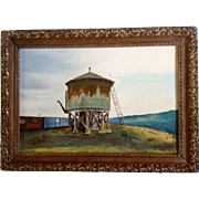 H. Childress, Train Cars by The Old Water Stop, Oil Painting Original on Canvas Board, Signed by Artist