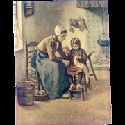 Hendrik Heyligers (1877-1967), Interior Dutch Kitchen Scene Mother Helping Daughter Sew Old Print