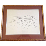 """Original Andrew Michael Dasburg (1887 - 1979) ,""""Llano Quemado I"""" Signed by Artist lithograph Print Works on Paper"""