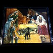 Kumjha, Painting, Jesus Birth Nativity Scene, Original Beautiful Christmas Oil on Canvas Signed by Artist