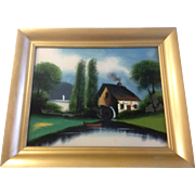 Reverse Glass Painting, Abalone Shell, Water Wheel Watermill House, Vintage Picture