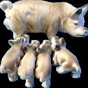 Vintage Rare Set Bone China Miniatures Mama Pig and Her Piglets Farm Animal Figurines