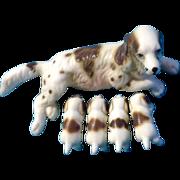 Bone China Miniatures Springer Spaniel Dog and Her Puppies Animal Figurines Vintage Rare Set