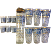Cera glass Roman Greek Key, Etruscan Friese Corinthian Blue, Greek Figures 13 pc.  7 Shot glasses 6 Highball and 1 Shaker