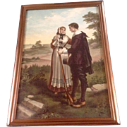 "George H. Bouton (1833-1905) Painting, ""John Alden and Priscilla's Courtship"" Electro Gravure Intaglio Color Print 1903 After the Original"