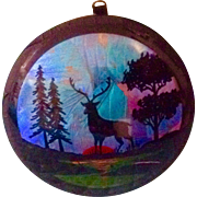 Original Mid-Century Reverse Painting Convex Glass Morpho Butterfly Wing Stag Deer Picture