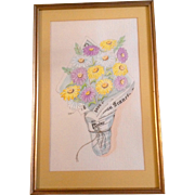 Virginia Lee, Watercolor Painting and Pen and Ink Works on Paper, San Francisco Chronicle Boquet of Daisy Flowers Original