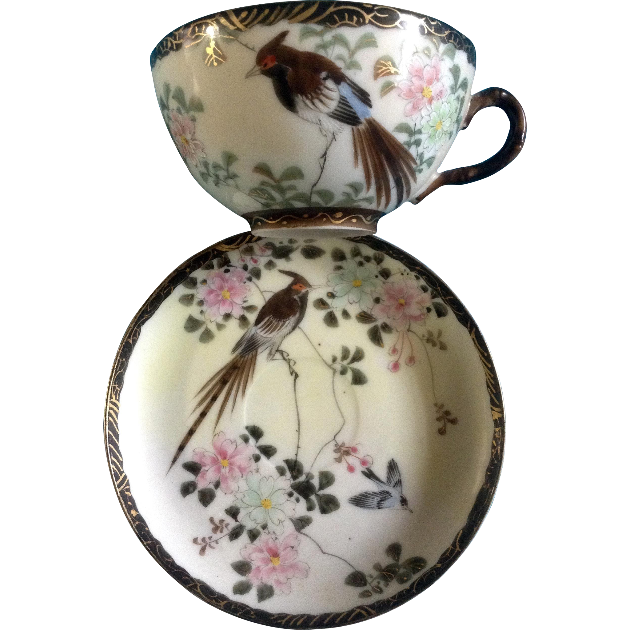 Hand Painted Flowers Birds Pottery Cup And Saucer