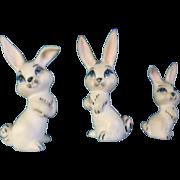 Bone China Miniatures White Bunny Rabbits with Blue eyes Matching Set of 3 Vintage