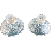 Fenton Candle Holders Water Lily Crystal Satin Art Glass Vintage Pair