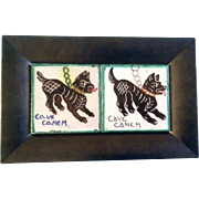Vintage Art Cave Canem Dog Tiles in Wood Frame Hand Painted Animal