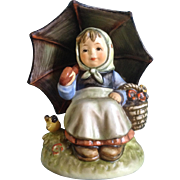 "Hummel Figurine Exclusive Special Edition Members Collector Club ""Smiling Through"" # 408/0 Goebel 4-3/4"" Girl Under Umbrella"