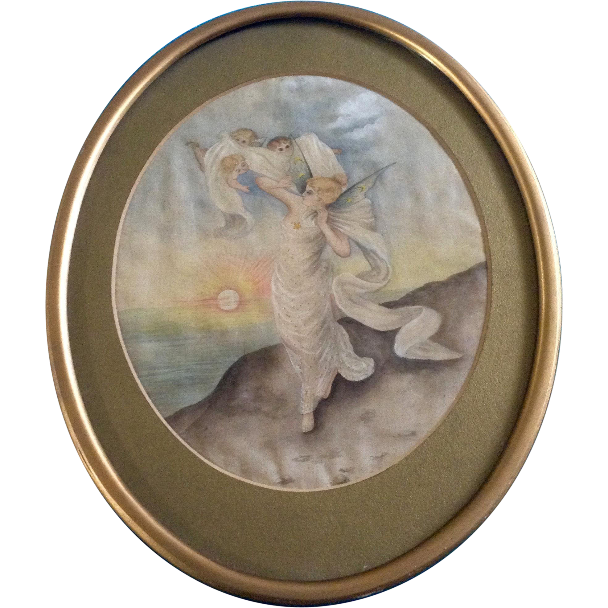 art nouveau painting woman fairy and cherub angels oval frame picture antique painting on silk batic