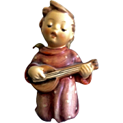 "Hummel Figurine Serenade #214 Goebel Angel Boy Singing With Guitar 3-1/4"" Nativity Girl TMK-5 The Last Bee (1972-1979) Foil"