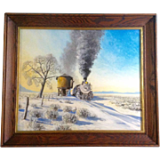 D. Harrison, Painting Acrylic on Board, Steam Engine #490 at Train Water Stop Just East of The Rocky Mountains Heading Toward Kansas