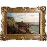 C Smith, Oil Painting On Canvas, 1856 Signed by British Artist,  Sea Side Town With Victorian Bathing Machines On The Beach